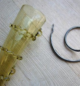Drinking horn Glass with forged holder