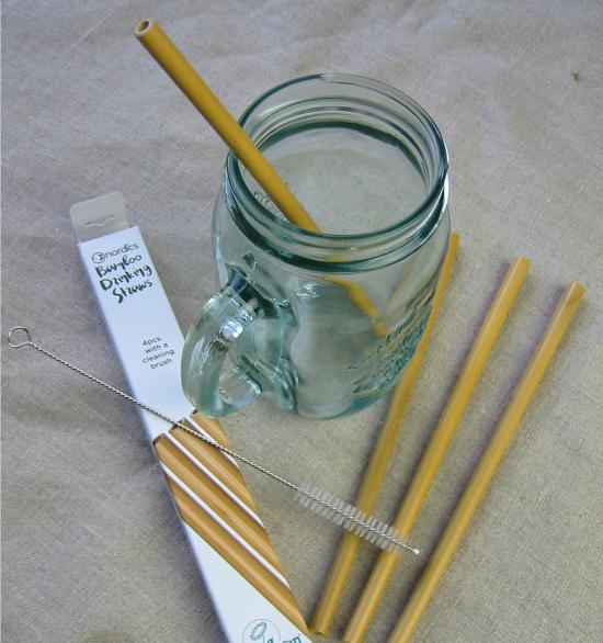 Bamboo drinking straws (4pcs with cleaning brush)